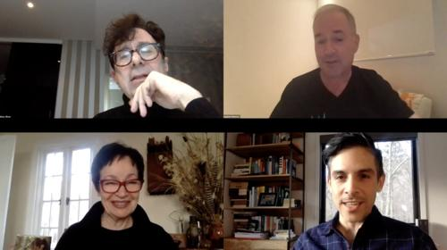 Screenshot of Zoom chat featuring Nicky Silver, Stephen Flaherty, Lynn Ahrens, and Matthew Lopez.