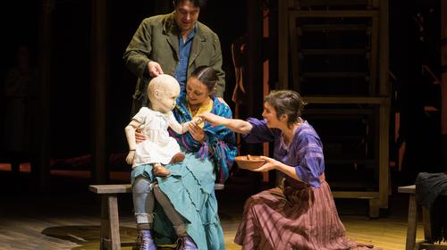 Christopher Salazar, Caro Zeller, and Gabriela Fernandez-Coffey in the Oregon Shakespeare Festival production of The Copper Children