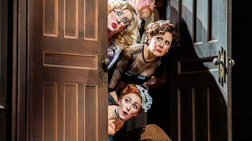 (Top to bottom) Eleasha Gamble, John Treacy Egan, Kathy Fitzgerald, Donna English, Elisabeth Yancey, Michael Kostroff, and Alex Mandell in Clue at Cleveland Play House. Photo by Ken Blaze.