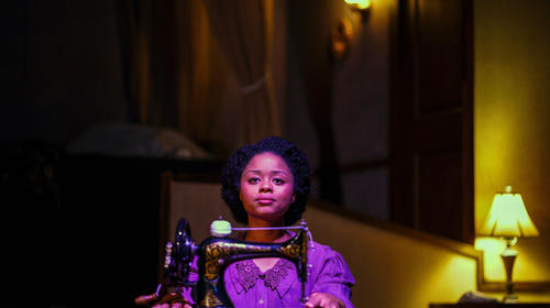 Tamara McMillian in Intimate Apparel by Lynn Nottage at New Village Arts Theatre. Photo by Daren Scott.
