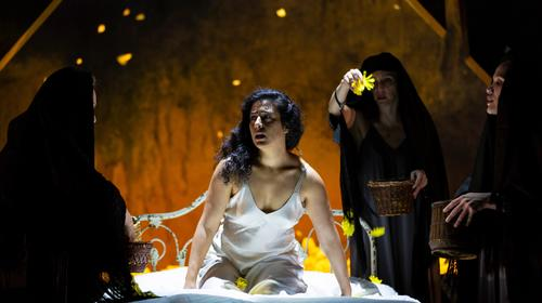 Nadine Malouf and the company of Yerma, adapted and translated by MELINDA LOPEZ at Huntington Theatre Company. Photo by T. Charles Erickson.