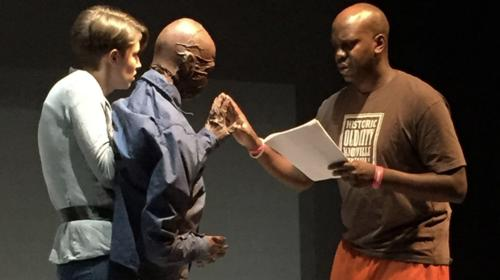 Puppet-maker Leah Chance and actor Kenneth Herring rehearse for Light Years: a Journey with Alzheimer's