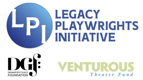 Logos for Legacy Playwrights Initiative, Dramatists Guild Foundation, and Venturous Theater Fund