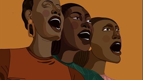 Illustration of three Black women singing and/or speaking